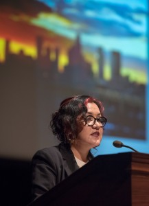 Dr. Martha Gonzalez presents the first CSP Lecture of the 2016-17 academic year on Friday, Sept. 9, 2016 in Thorne Hall. Martha Gonzalez was born and raised in East Los Angeles and is a Chicana artivista (artist/activist) and feminist music theorist. Gonzalez earned a PhD in Feminism from the University of Washington Seattle. In addition, Gonzalez holds an undergraduate degree in Ethnomusicology from the University of California Los Angeles. Her academic interest in music has been fueled by her own musicianship as a singer and percussionist for East L.A's Quetzal for the last 17 years. Quetzal's album Imaginaries received a Grammy award in 2013. Dr. Gonzalez is currently an Assistant Professor at Scripps College in the Claremont Colleges' Intercollegiate Chicano/a-Latino/a Studies Department. (Photo by Marc Campos, Occidental College Photographer)